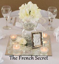 Silver Wedding Pearl Garland Decoration Pearl Beads Centerpiece Reception Shabby Chic Vintage Candle Manzanita Wishing Tree