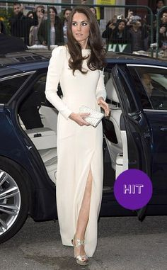 Kate dazzled in a cream gown, slashed to the thigh, by French designer Roland Mouret for a dinner at luxury London hotel Claridge's.