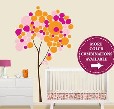This company has great custom colors.  I think black tree with 3 leaf colors in the pallet you go with.   Children Wall Decal  Circle Tree Wall Decal  Pink by Lulukuku, $105.00