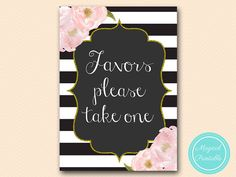 favors please take one sign thank you sign by MagicalPrintable