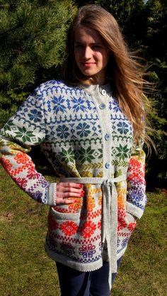 Handknit cardigan grey color with rainbow yarn by SandrasMagic, $100.00