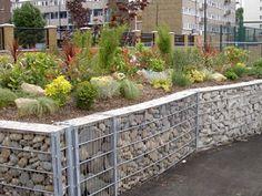 Gabion wall planters