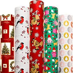 Amazon.com: Christmas Wrapping Paper White Red Blue with Pattern 5 Roll 30 Inch x 10 Feet Per Roll Xmas Holiday Hanukkah Deer Santa Snowmen Snowflakes: Everything Else Christmas Car, Hallmark Christmas, Christmas Ideas, Merry Christmas, Diy Christmas Wrapping Paper, Gift Wrapping Paper, Red And Blue, Red Green, Blue Yellow