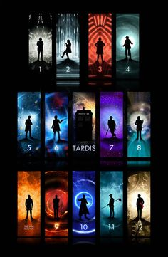 Doctor and the TARDIS. I love how all of the Doctors look intense, and then Matt Smith is wearing a fez and is holding a broom. David Tennant, Serie Doctor, Doctor Who Wallpaper, Tardis Wallpaper, Fanart, Torchwood, Geronimo, Film Serie, Time Lords