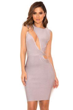 Clothing : Bandage Dresses : 'Inka' Grey Slash Front Bandage Dress