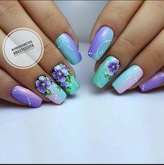 27 New Nail Designs From 2018 for You to Do at Home! 27 New Nail Designs From 2018 for You to Do at Flower Nail Designs, New Nail Designs, Flower Nail Art, Fancy Nails, Cute Nails, Pretty Nails, Spring Nail Art, Spring Nails, Uñas One Stroke