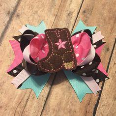 Custom order cowgirl boot pink brown Aqua birthday bow baby girl hair bow