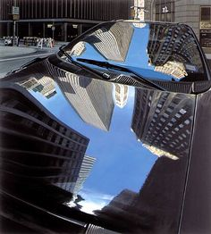 Richard Estes Broad Street, New York City 2003 photo realism Magritte, Abstract Photography, Street Photography, Reflection Art, Water Reflections, Hyper Realistic Paintings, Pop Art, Illinois, A Level Art