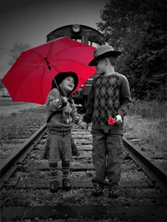 Children black and white with red umbrella - ☯ www.pinterest.com/WhoLoves/Black-White-Color ☯ #black #white #color
