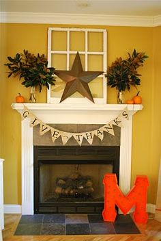 thanksgiving mantle This looks like Brenner Daws house! Thanksgiving Mantle, Thanksgiving Decorations, Halloween Decorations, Fall Crafts, Holiday Crafts, Fake Fireplace, Fireplace Hearth, Living Room Decor Inspiration, Holiday Fun