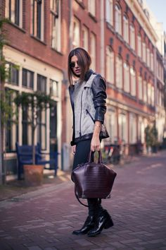 AB Two-Tone Washed Leather Jacket Black Turtleneck Skinny Jeans Black Boots Alexander Wang Emile Bag.