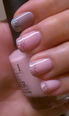 Light Pink Nails with Glittered Tips