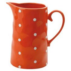 Stoneware straight jug in orange with white polka dots. Product: JugConstruction Material: StonewareColor: OrangeFeatures: Ounce capacityDimensions: H x WCleaning and Care: Handwash Gadgets And Gizmos, Love To Shop, Organic Shapes, Moscow Mule Mugs, My Favorite Color, Ceramic Pottery, Fine China, Bedding Shop, Sprinkles