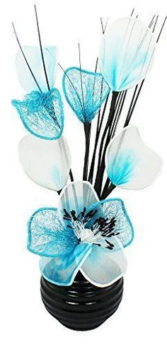 Flourish 32 cm 813 Vase with Nylon Mesh Mini Flower in Thick Wire, Black/Teal in Home, Furniture & DIY, Home Decor, Dried & Artificial Flowers | eBay!