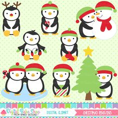 Christmas Penguins Clipart - perfect for Christmas & winter projects and crafts.