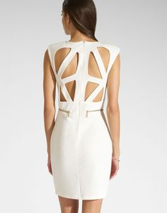 The back is where it's at on our sleeveless cutwork bodycon!