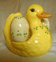 Vintage Yellow GOOSE Duck with Napkin Holder Egg Salt and Pepper Shakers Easter | eBay