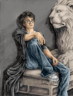 A picture of Harry Potter Original was drawn in pencil, colored in Photoshop Original by Dove the Lionheart Colored by request