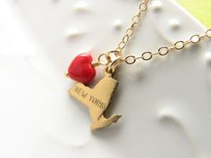 State charm I heart love my state necklace by JanuaryGirlJewely