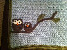 Owl crochet baby blanket that I made.