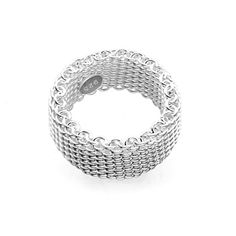 S925 Sterling silver woven mesh Silky Chains Ring