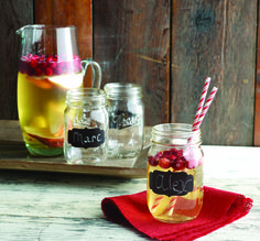 Mason Jars with Chalk inscription - write your name or be silly. what more could you want www.scantrade.ca - Mud Pie