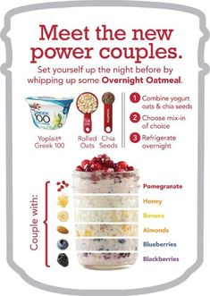 Overnight Oatmeal is my favorite! Prep ahead, grab and eat on the go. So easy so yummy good for you! Overnight Oatmeal is my favorite! Prep ahead, grab and eat… Healthy Snacks, Healthy Eating, Healthy Recipes, Clean Eating, Healthy Tips, Oats Recipes, Cooking Recipes, Drink Recipes, Chef Recipes