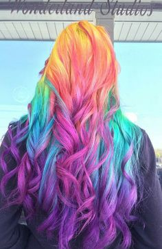 Rainbow purple dyed hair color inspiration