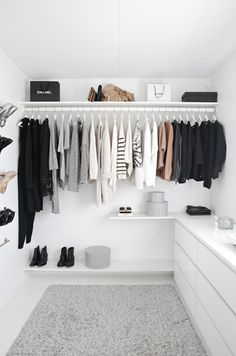 Get inspired by this bright and minimal walk-in closet | Le Fashion | Bloglovin - so love all the white. One day our closet will look like this b.