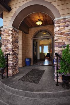 Shoreline Traditional - traditional - entry - seattle - RW Anderson Homes Concrete Porch, Concrete Steps, Concrete Pavers, Concrete Design, Entrance Ways, House Entrance, Entry Ways, Grand Entrance, Door Design