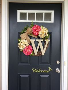 Hydrangea Wreath Monogram Wreath Front Door by SimplySundayShop Front Door Decor, Wreaths For Front Door, Door Wreaths, Front Porch, Front Doors, Monogram Wreath, Diy Wreath, Wreath Ideas, Letter Wreath