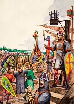 Saxon Warriors and Norman Invaders (Original) art by Peter Jackson at The Illustration Art Gallery