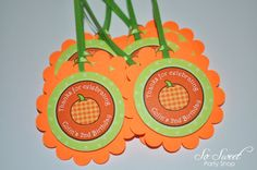 Celebrate your little pumpkins birthday with these adorable pumpkin theme birthday party favor tags. Personalize with name and age.    Each