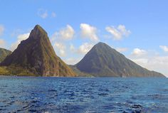 St Lucia's volcanic 'Pitons' rising from the ocean