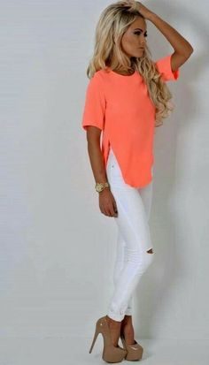 Nice coral neon top and white pants Neon Outfits, Mode Outfits, Casual Outfits, Fashion Outfits, Womens Fashion, Bar Outfits, Vegas Outfits, Woman Outfits, Club Outfits
