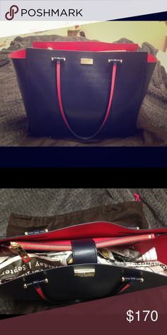 KATE SPADE annelle arbour hill Navy LARGE tote Navy leather tote. Used twice . kate spade Bags Totes