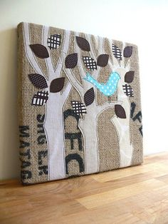 IDEA #1: Seattle skyline fiber art {example of fabric applique artwork - Jenny Bartoy: Burlap Art}