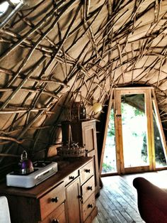 The Kitchen in The Wren's Nest www.thefirepitcamp.co.uk Hand made hazel dome bender tent