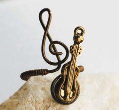 Violin Treble Clef Antique Bronze Ring