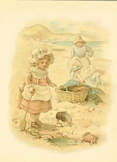 Raphael Tuck Victorian 1895 Antique Children's Print- Young Girl Wearing Mop Cap And Apron On Beach With Her Bucket And Spade.