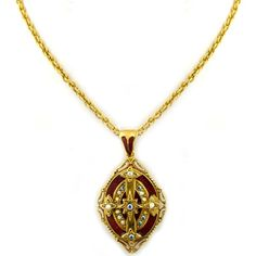 The Vatican Library Collection Goldtone Hand Enameled Cross locket.