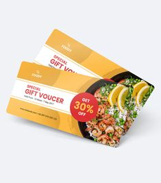Food and Resto Gift Voucher Card by uicreativenet on Envato Elements Food Vouchers, Gift Vouchers, Hotel Brochure, Gift Voucher Design, Cute Cross Stitch, Coupon Design, Special Gifts, Coupons, Mango