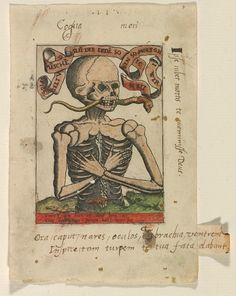 "Master S (Alexander van Brugsal?), Netherlandish, ""Memento Mori,"" ca. 1520, engraving, with contemporary hand coloring. Gift of Linda and David Roth in memory of David P. Becker and Museum Purchase, Lloyd O. and Marjorie Strong Coulter Fund. Bowdoin College Museum of Art."