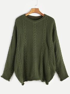 Army Green Cable Knit Drop Shoulder Seam Sweater — 0.00 € -------color: Green size: one-size