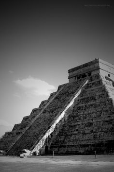 Chichen Itza, one of the seven new wonders of the world. During the spring and autumn equinox the setting sun casts a shadow resembling a snake descending the stairway.