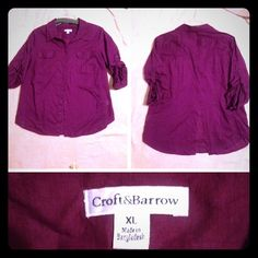 "Croft & Barrow Ladies Blouse This is a beautiful Croft & Barrow brand ladies blouse. The blouse is a lovely button up purple blouse. It is made in Bangladesh from 100% cotton. It has a collie and 3/4 sleeve. The bust is 24 inches and the length is 28 inches. In very good condition. Very ""gently"" used item. Croft & Barrow Tops Blouses"