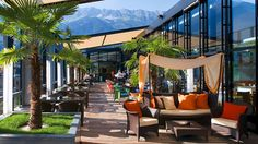 End your day with a relaxing sundowner and panoramic views of the Alps on the heated rooftop terrace of Innsbruck's glass architectural gem, the Penz Hotel. Order the signature Fifth Floor cocktail, a Bellini Royal made of peaches and Champagne, or ask one of the skilled bartenders to whip up something unique. A bonus for hotel guests is that they can begin the day with an extensive breakfast buffet (with more fresh fruit than you can name) served against the same beautiful…