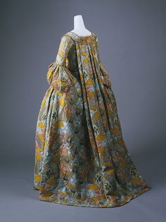 Robe, mid-18th century  French  Patterened light blue ribbed silk, brocaded in polychrome silks, metallic gold, and silver