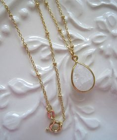MOONSTONE And GOLD VERMEIL Necklace  Faceted by RoseHipsDesign, $36.00