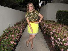 camo tee / gold spike necklace / neon skirt / leopard peep toe flats
